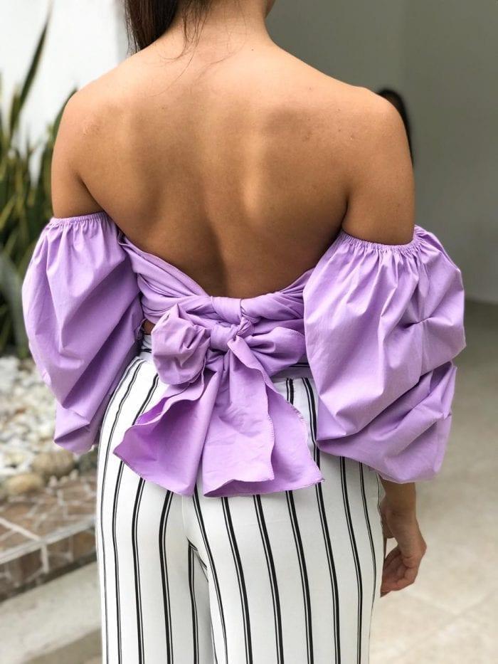 blusa anastasia lila de lazo